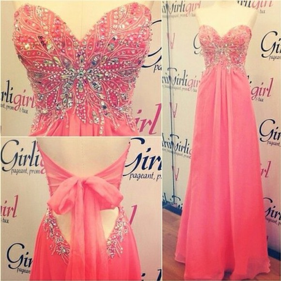 coral strapless beaded long strapless dresses prom dress prom 2014 pink dress brillant rose robe