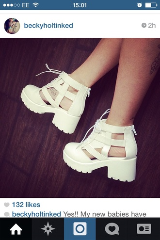 shoes white white shoes cut-out boots sandals wedges chunky heels white platforms