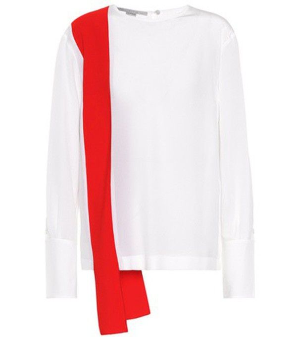 Stella McCartney Panelled silk blouse in white