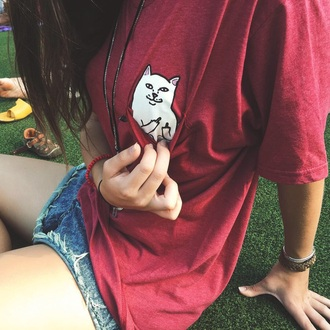 shirt red cat shirt girl with cat shirt t-shirt tumblr girl tumblr cats fuck off wine red girly girl skater