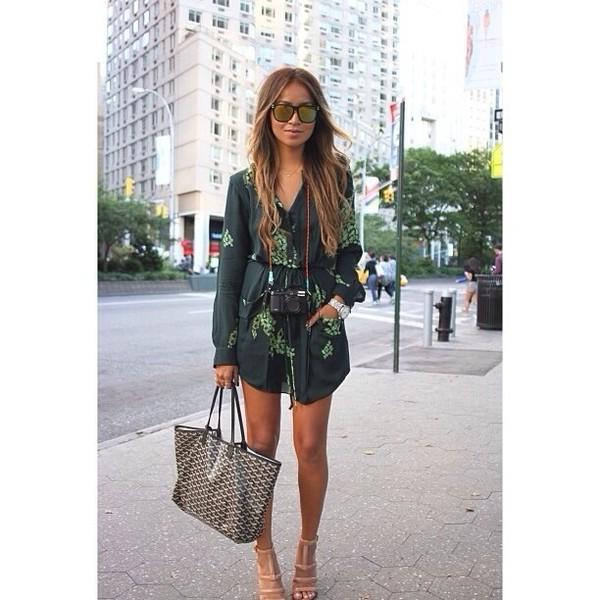 dress shirtdress green dress short dress summer dress long sleeve dress cream high heels tote bag handbag leather
