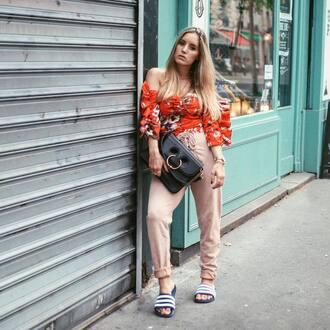 top red top floral top nude pants bag tumblr floral pants shoes slide shoes