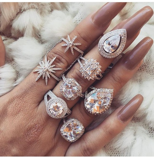 Nail Accessories Ring Diamonds Diamonds Ring Heart
