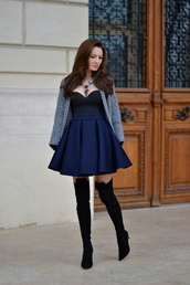 my silk fairytale,blogger,knitted cardigan,bustier,circle skirt,neoprene,thigh high boots,cardigan,skirt,jewels,shoes,top