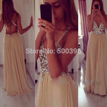 Aliexpress.com : buy deep v neck opening back sexy prom dress 2015 vestidos a line khaki chiffon floor length formal dress evening gowns from reliable dress sophisticated suppliers on su zhou wedding &events co,ltd