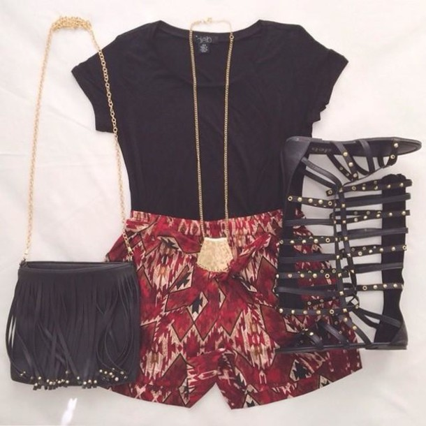 shorts aztec tribal pattern marron gladiators gold fringed bag black shirt statement necklace summer outfits shoes jewels bag top