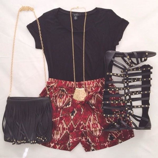 Shorts: aztec, tribal pattern, marron, gladiators, gold ...