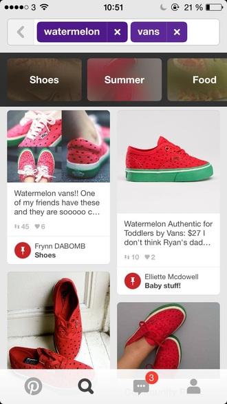 shoes cute vans vans sneakers watermelon red green