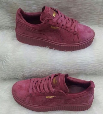 shoes puma burgundy suede sneakers puma sneakers