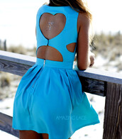 dress,cut out heart,pretty back,backless,amazinglace,summer,beach,summer time,blue,aqua