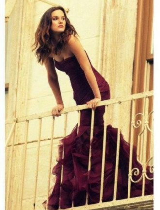 dress burgundy purple prune maxi full length strapless ruffle no sleeve sweetheart neckline wrap long prom homecoming cute beautiful summer dress leighton meester