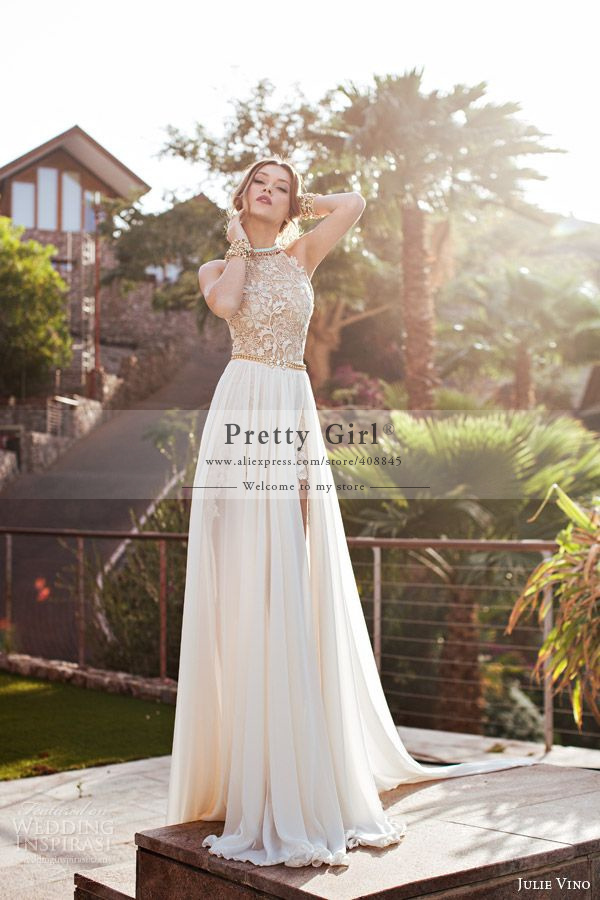 Aliexpress.com : Buy Top Fashion vestido de noiva Chiffon Romantic Wedding Dresses 2015 Sexy Halter Backless Lace Appliques Julie Vino Wedding Gowns from Reliable Wedding Dresses suppliers on Pretty Girl Trade Co., Ltd | Alibaba Group
