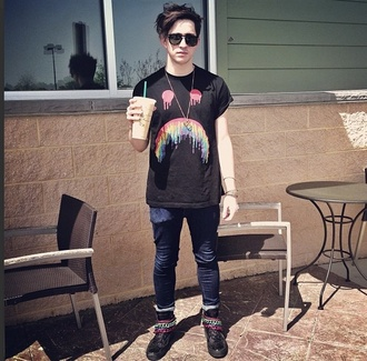 shirt black t-shirt rainbow frowny face black t-shirt