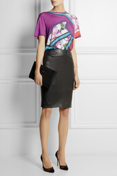 t-shirt,printed stretch-jersey t-shirt,cuff,pumps,leather pencil skirt,pencil skirt,skirt,black,leather,joseph,clutch,the row,leather clutch,mesh,suede,rose gold-dipped lace cuff,aurélie bidermann,mary katrantzou,gianvito rossi,bag,jewels,shoes