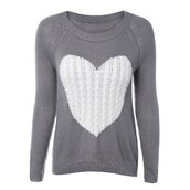 sweater,fall outfits,grey,heart,white,fashion,style,long sleeves,trendsgal.com