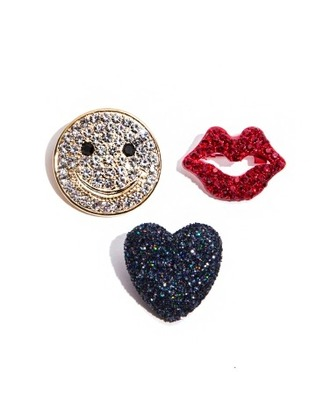 jewels cute sparkle happy face summer heart rhinestones summer pins spring pins pixie market pixie market girl pins lips