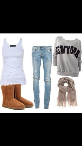 jeans skinny new york hoodie gray shirt shoes