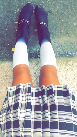 style fashion knee high socks boots skirt