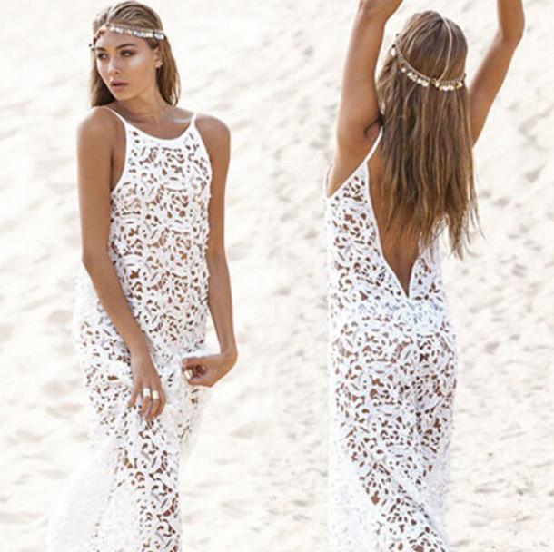 98e857eb2 swimwear, white, lace, white lace, lace dress, white dress, beach ...