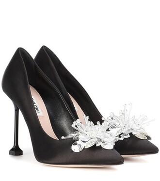 embellished pumps satin black shoes