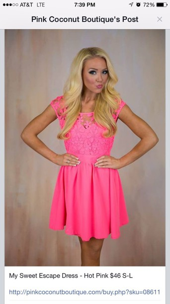 dress pink lace short