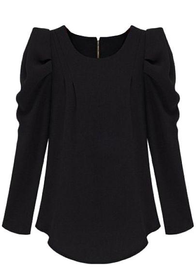 Black Long Sleeve Alice Shoulder Zipper Blouse - Sheinside.com