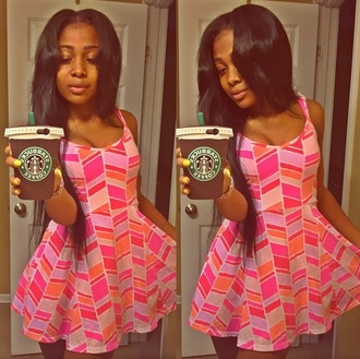 dress print pink short skater dress amourjayda