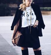 skirt,tumblr,mini skirt,black skirt,wrap skirt,t-shirt,white t-shirt,black blazer,blazer,bag,brown bag,ysl,ysl bag,over the knee,necklace,gold necklace,gold jewelry,jewels,jewelry,MSGM,fall outfits,thigh high boots