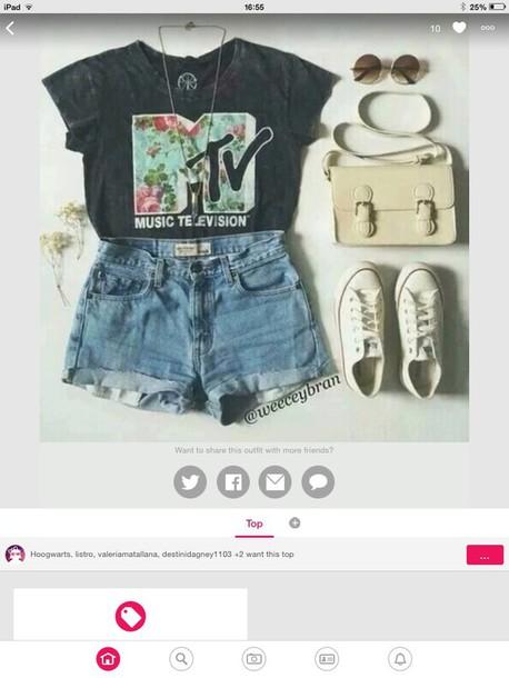 t-shirt mtv shirt shorts shirt
