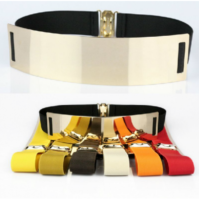 Metal mirror wide fashion women's belt