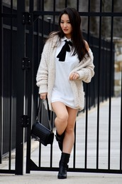 sensible stylista,blogger,cardigan,white dress,shoulder bag,black bag,booties,black boots