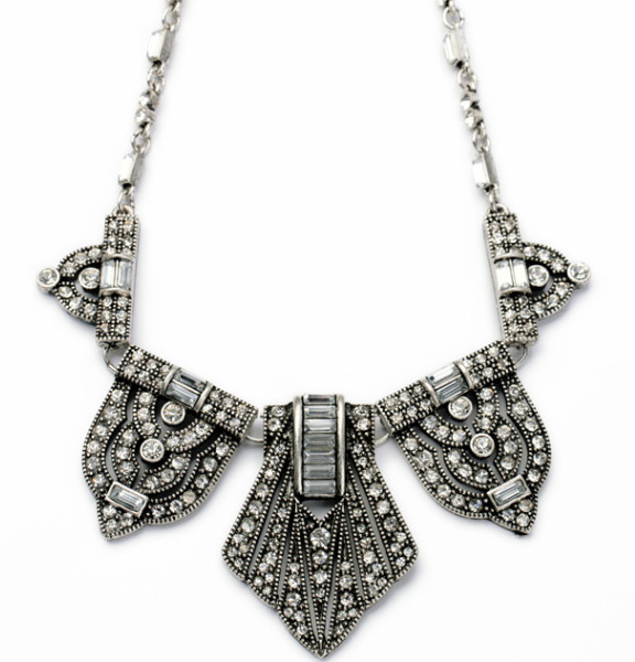 Antique silver black rhinestone geometric bib necklace wholesale