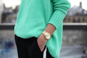 sweater knitwear black trousers gold gold watch watch jewelry jewels turqoise