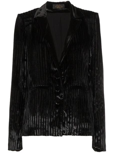 jacket women stripes black silk velvet
