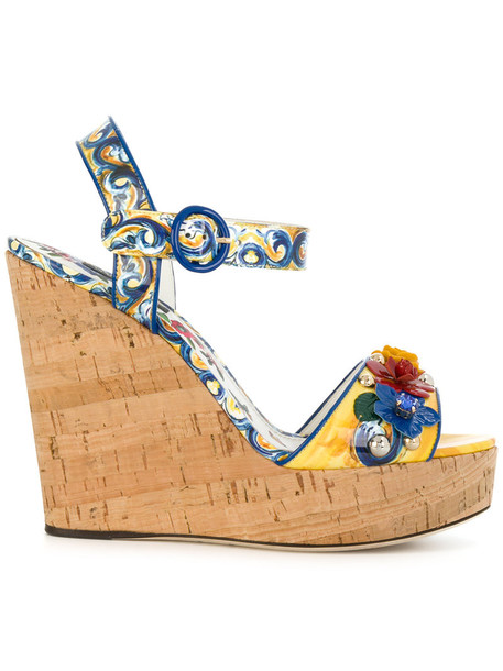 Dolce & Gabbana women wedges leather print shoes