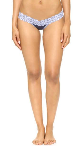 Hanky Panky Heather Jersey Low Rise Thong - Chambray/White