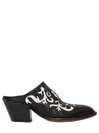 mules leather white black shoes