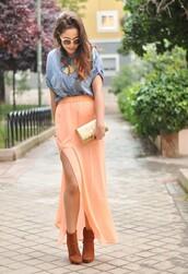 skirt,maxi skirt,coral maxi skirt,coral,long,high split