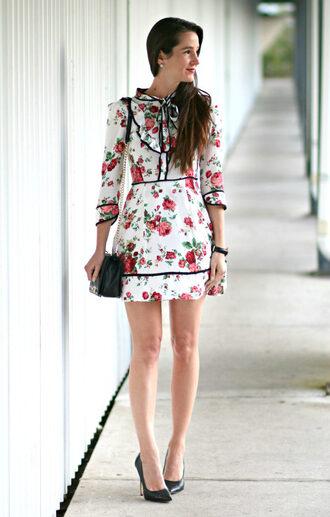 diary of a debutante blogger dress shoes bag jewels floral dress mini dress shoulder bag pumps high heel pumps spring outfits