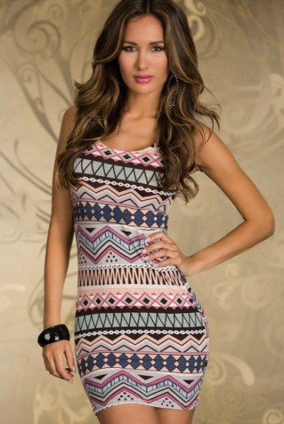 Newest Brand Fashion Vintage Aztec Print Women's Mini Dress ...