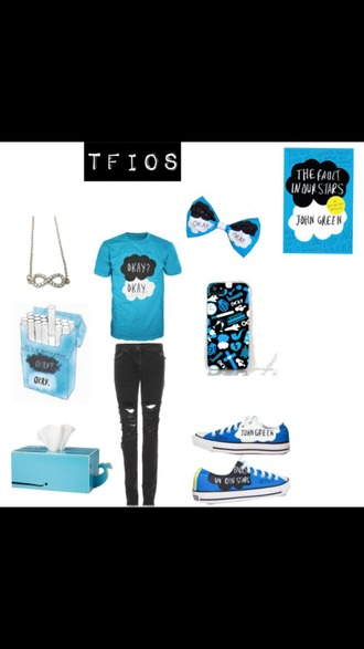 shirt the fault in our stars book necklace jeans convers tissue box phone cover hair accessory