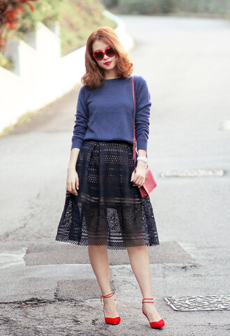 mellow mayo blogger lace skirt blue sweater strappy flats red shoes cute outfits