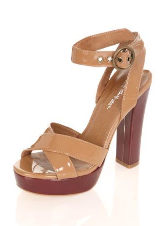 Tan and deep red 70's heel