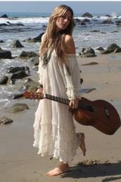 dress,white,boho,gypsy,sundress,beach,beach dress,hippie,ivory dress,summer dress