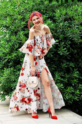 m&m fashion bites blogger top shoes skirt jewels bag off the shoulder dress maxi dress floral dress red heels high heel pumps