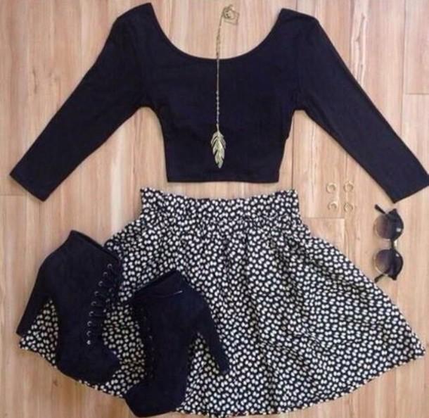 skirt black crop top shoes necklace
