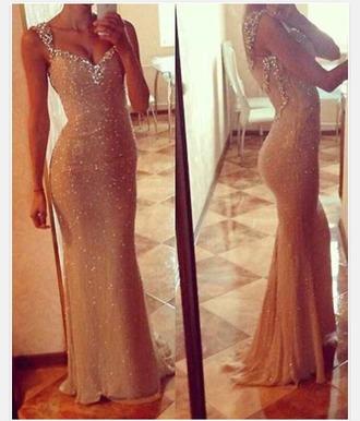 dress sparkly dress prom dress gold sequins