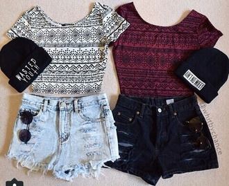 top denim shorts denim aztec sunglasses black shorts