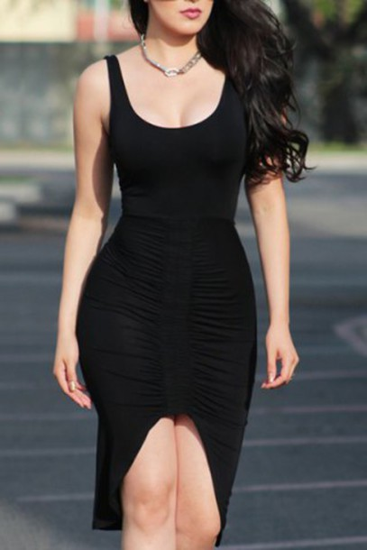 c47b8a3e28af dress sexy black slit summer casual party dress fashion style tank dress  dressy little black dress