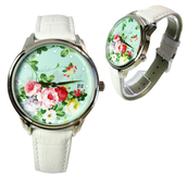 jewels,flowers,flowery watch,watch,romantic watch,leather watch,white,designer watch,beautiful watch,unusual watch,unique watch,ziziztime,ziz watch